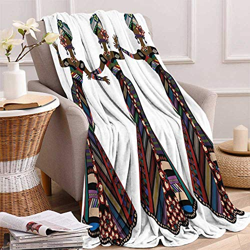 (maisi African Woman Super Soft Lightweight Blanket Young Women in Stylish Native Costumes Carnival Festival Theme Dance Moves Oversized Travel Throw Cover Blanket 70