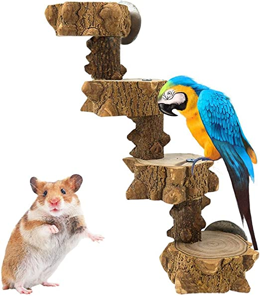PITCHBLA Escalera de Escalada para Loros, Plataforma de Escalera de Madera para hámster, Juguete para pájaros, escaleras de pie para Mascotas pequeñas, Jaula para Mascotas: Amazon.es: Hogar
