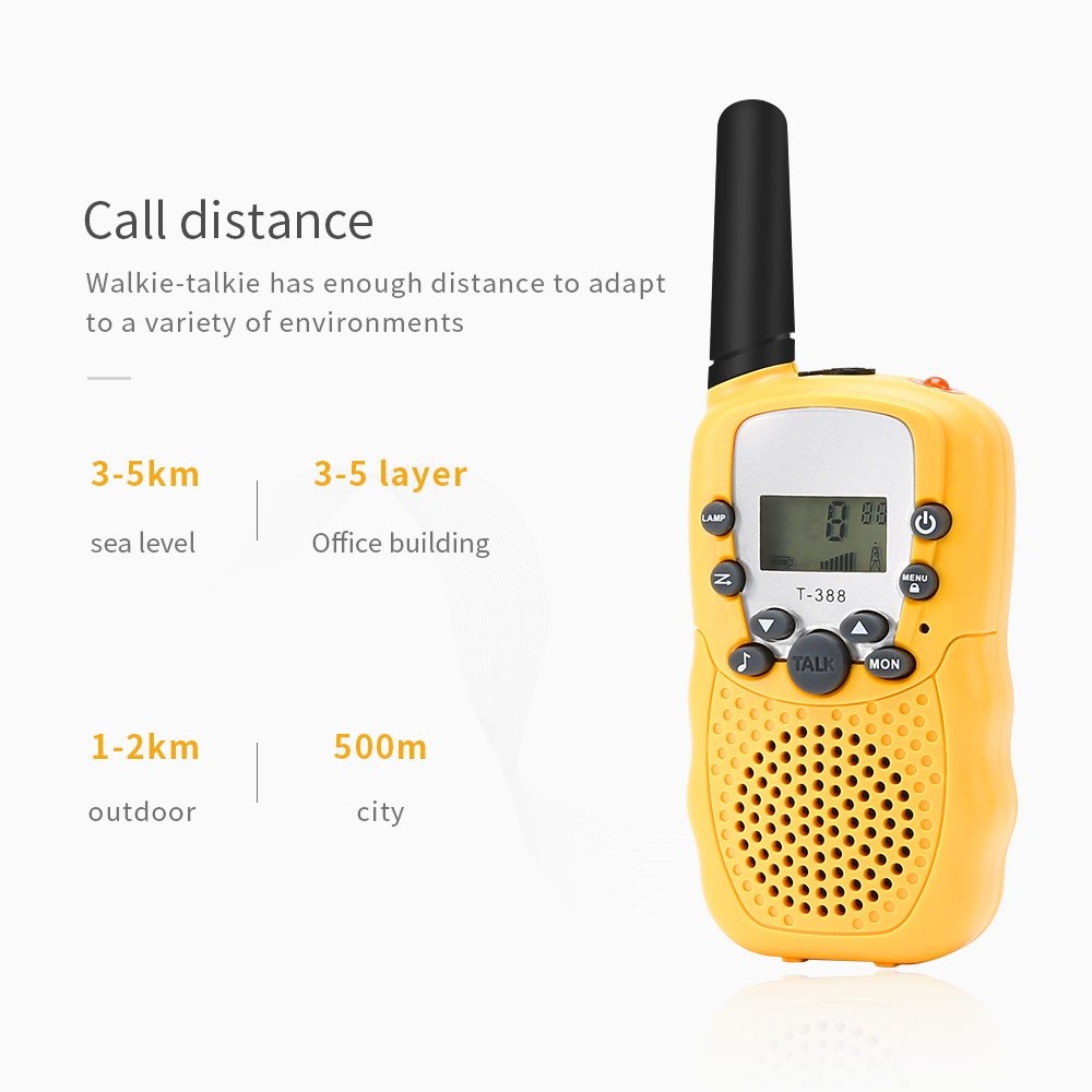 BROMOSE Kids Walkie Talkies 22 channel two way radio up to use 3 Miles Handset with Indicator and Belt Clip Toy for Children Great Fun for Outdoor Play Camping Hiking 2 PCS,Yellow