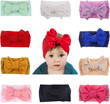 1X Big Bow Headband Nylon Hairband Girls /& Baby Knotted Turban Head Wrap Elastic