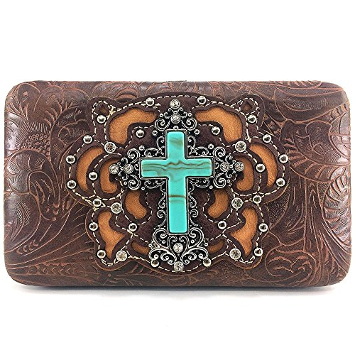 Justin West Concealed Carry Rhinestone Western Tooled Leather Studded Cross Messenger Cross Body Handbag Purse (Brown (Studded Cross Messenger)