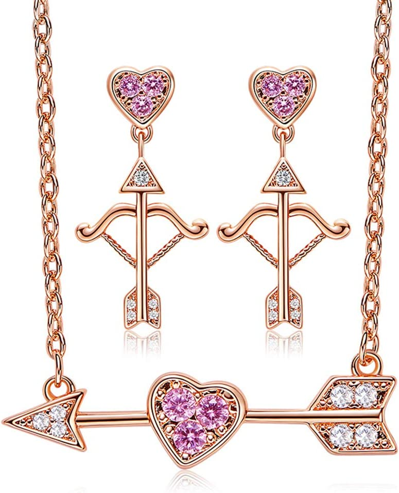 B&H-ERX Nuevo Conjunto de Joyas de Plata esterlina 925 para Mujeres con Piedra CZ Nuevo diseño Collar de Colgante de Flecha de Oro Rosa de Cupido Conjunto joyería