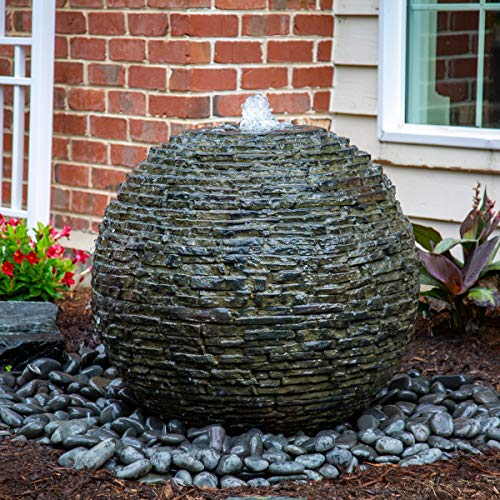 (Aquascape Stacked Slate Sphere Water Fountain and Installation Kit for Yard, Landscape, and Garden, Medium |  78290)