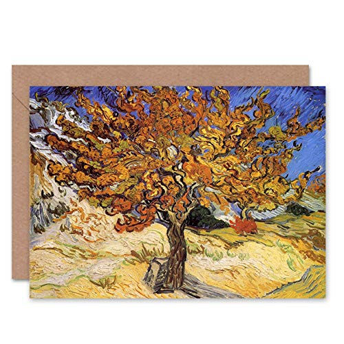 Wee Blue Coo New Vincent Van Gogh Mulberry Tree 1889 Old Master Blank Greetings Card ()
