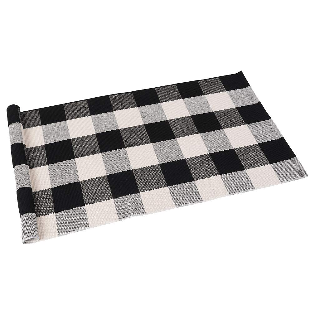 """SEEKSEE 100% Cotton Plaid Rugs Black/White Checkered Plaid Rug Hand-Woven Buffalo Checkered Doormat Washable Porch Kitchen Area Rugs (24""""×51"""")"""