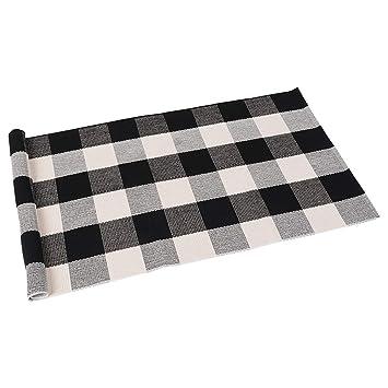 Amazon Com Seeksee 100 Cotton Plaid Rugs Black White Checkered