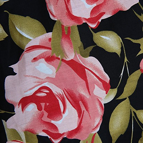 Noir A Jupe Style Midi Vintage Rtro Floral Jupe Line Pli YiLianDa Jupe Imprime Patineuse xqXnRR7O