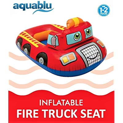 aquablu Inflatable Fire Truck Cool Summertime Swim Seat & Float Toy for Pool Beach Lake Bay & More Exciting Red Fire Engine Steering Wheel & Solid Bottom for Toddlers Ages 1-2 Years: Toys & Games