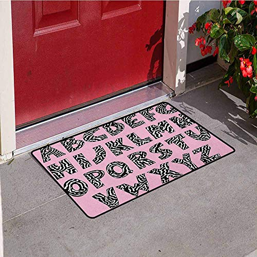 Etched Zebra Stripe - GloriaJohnson Pink Zebra Welcome Door mat Funky Letters Written in Zebra Skin Stripes Animal Theme Design Door mat is odorless and Durable W31.5 x L47.2 Inch Baby Pink Black and White