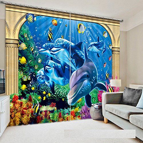 Wapel Animals In The Sea Blackout Curtains Bedding Living Room Sunshade Window Curtain 3D Curtains 240X260CM