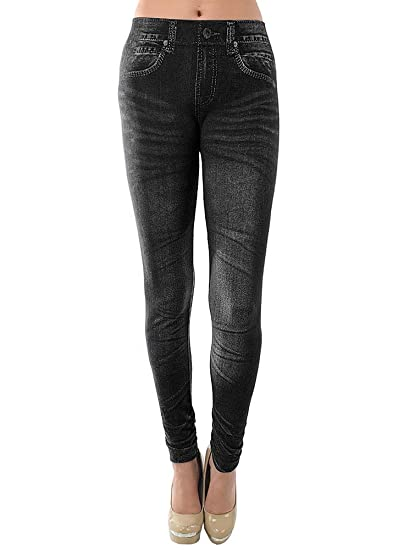 1a24a7e1bb8a1 Ladies' Blue or Black Denim Look Stretchy Jean Leggings (One Size Fits  Most, Black) at Amazon Women's Clothing store: