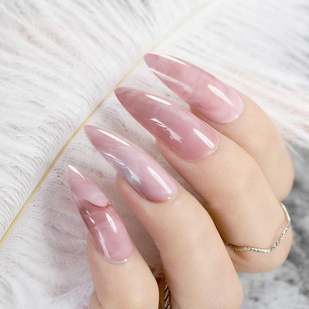 Amazon.com : Extra Long Sharp Classic Solid Stiletto False Nails Tips Oval Stilettos Bright Black Uv Gel Salon Acrylic Fake Nail Art Z752 : Beauty