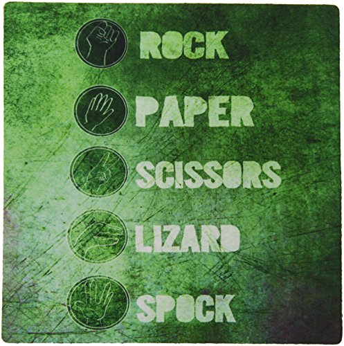Price comparison product image 3dRose LLC 8 x 8 x 0.25 Inches Mouse Pad, Rock Paper Scissors Lizard Spock - Green (mp_193652_1)