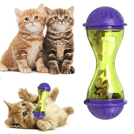 OSAYES Gato Perro alimentador dosificador de plástico de diseño Divertido Vaso Alimentos para Tratar Las Fugas