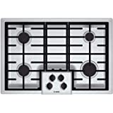 "Bosch NGM5055UC 500 Series 30"" Gas Cooktop with Four Sealed Burners Automatic Re-ignition LP Conversion Kit 16 000 BTU Burn Capacity in Stainless"