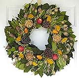 Autumn Orchard Dried Wreath 22 in [Kitchen]
