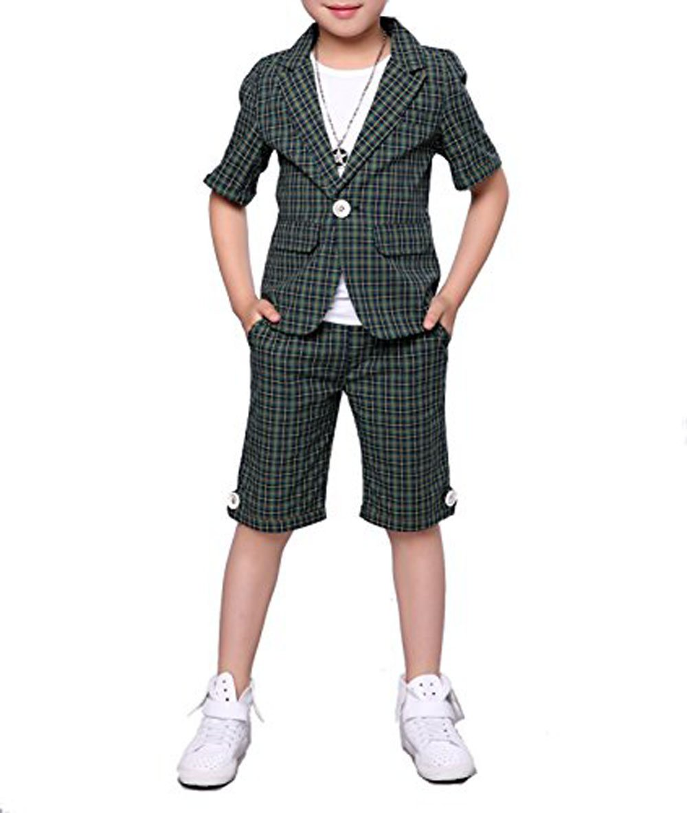 Boys Summer Plaid Suits 2 Pieces Short Sleeve Blazer and Shorts Set 3 Colors (5, Green)