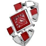 Top Plaza Womens Casual Elegant Silver Tone Rhombus Face Bangle Cuff Bracelet Dress Quartz Watch 6 '',Thanksgiving Christmas Gift,Red
