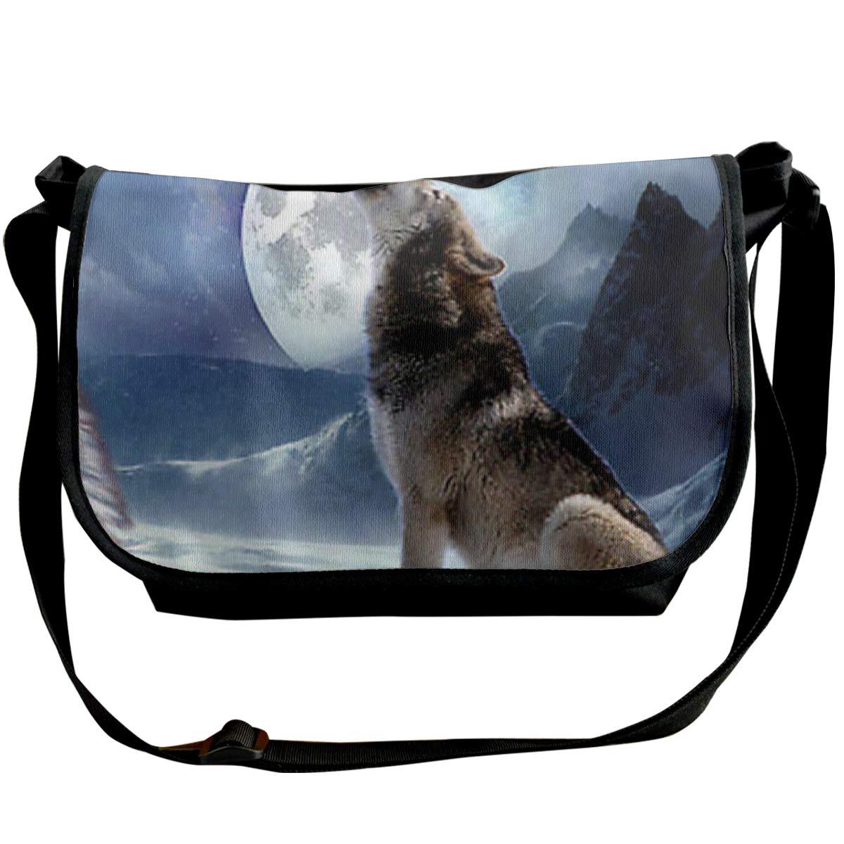 Women Cross Body Bag Howling Wolvess Messenger Bag Chest Pack Bookbag Multi Pocket Travel Casual Purses
