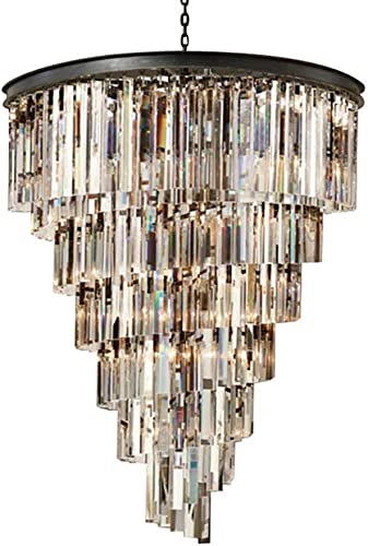 Black Crystal Chandelier Living Room Restaurant Ceiling Light Fixture