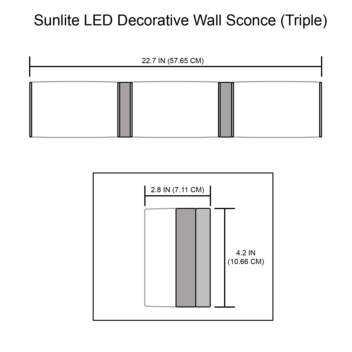 Dimmable 1200 Lumen 2 Lights 30K Warm White 20 Watts Sunlite 82062-SU LED Decorative Wall Sconce Fxiture Brushed Nickel