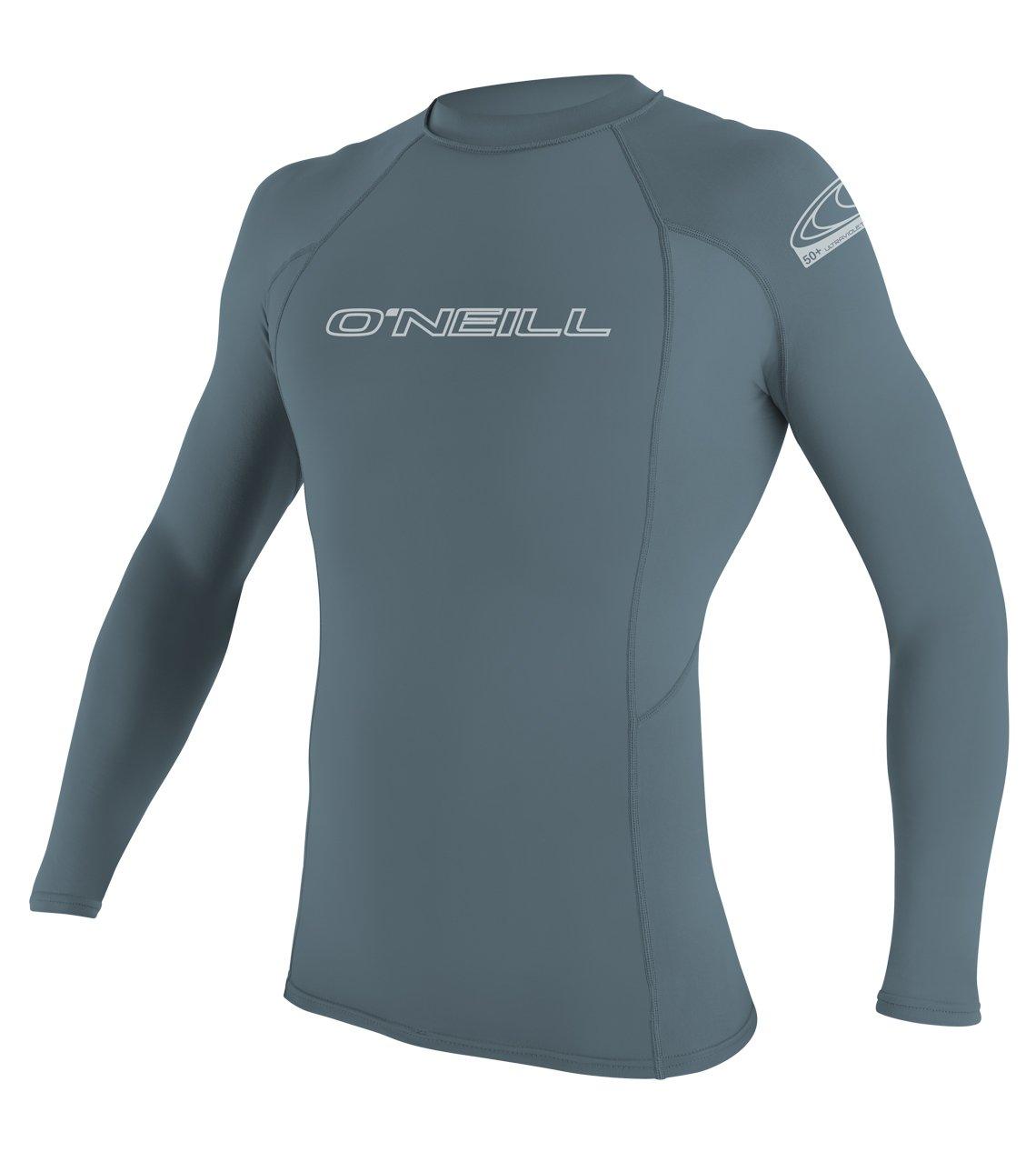 O'Neill Men's Basic Skins UPF 50+ Long Sleeve Rash Guard, Dusty Blue, Medium