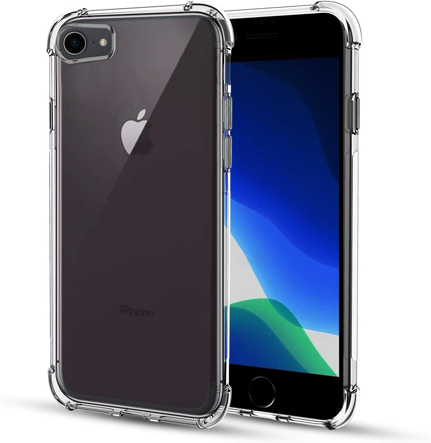 TGOOD Case for Apple iPhone SE 2020, iPhone 8, iPhone 7, Shock-Absorption Bumper Cover, Anti-Scratch Crystal Clear Back, Ultra Slim Soft Silicone TPU ...