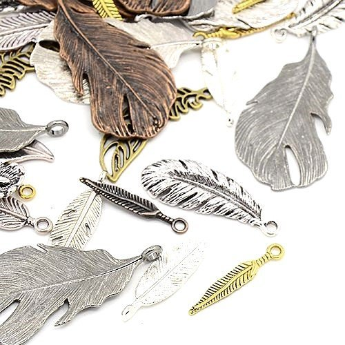 30 Grams Mixed Tibetan Random Shapes & Sizes charms pendants (Feather) - (HA12580) - Charming Beads Something Crafty Ltd