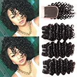 8A Peruvian Deep Wave 3 Bundles with Closure Short Deep Curly Hair Bundles with Lace Frontal Closure 3Part Human Hair Extensions 50g/pc Curly Human Hair Bundles with Closure (8″ 8″ 8″ with 8″ Closure)