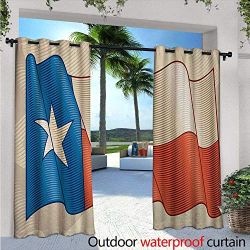BlountDecor Texas Star Outdoor Blackout Curtains W96 x L108 Flapping Texan Flag Lone Star Pattern with Retro Effect Americana Outdoor Privacy Porch Curtains Vermilion Beige Blue