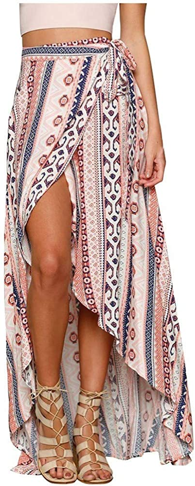 Sylar Faldas Largas Bohemias Falda Mujer Midi Desigual Faldas ...