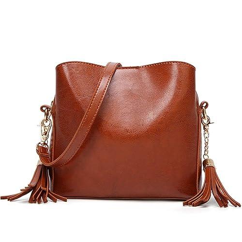 d1371f0f4cfd Orfila Leather Shoulder Bag Small Crossbody Purse Fashion Bucket Bag Tassel  Purse for Women