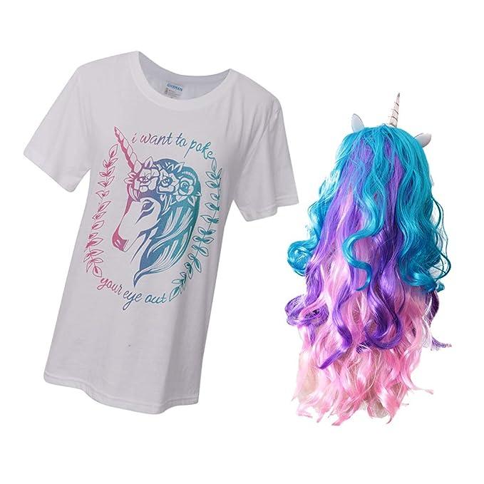 IPOTCH Camiseta con Peluca Larga Unicornio Mujer Cosplay Unicornio Dieño para Fiesta Halloween Ocasiones - Blanca, Única: Amazon.es: Ropa y accesorios