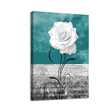 LKY ART Wall Art Elegant Blue Flower Canvas Print White Rose Plant Abstract Art 4 Panel Oil Painting Picture for Living Room Wall Decor Painting Wood Frame Stretched Easy to Hang (rosewhite-12161)