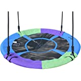 Hi Suyi 100cm/60cm Disc Giant Nest Web Rope Hanging Tree Swing Seat Set Heavy Duty Easy to Set Up For Kids Children Adult Outdoor Backyard Garden Large Small Size