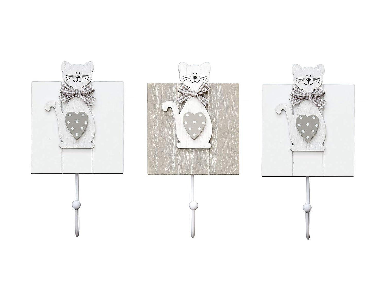 Conjunto de 3 ganchos de perchero pared madera colgador solo gancho con diseño de gato para pared o puerta en 2 x blanco y 1 x gris diseño de gatos ...
