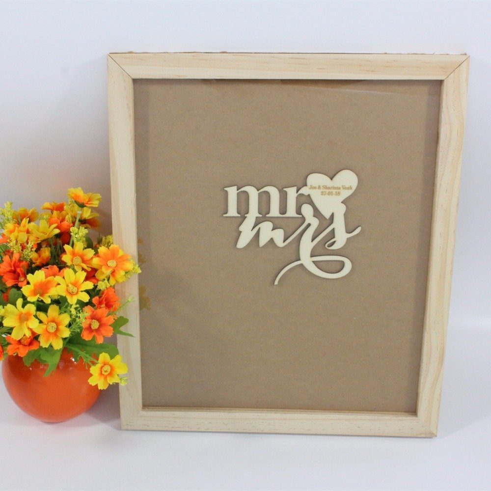 Tamengi Wedding Guest Book Frame,Custom Drop Top Guestbook,Wedding Decoration,Personalized Guest Book for Signature,Wood Heart Guestbook with 120Pcs Wooden Hearts