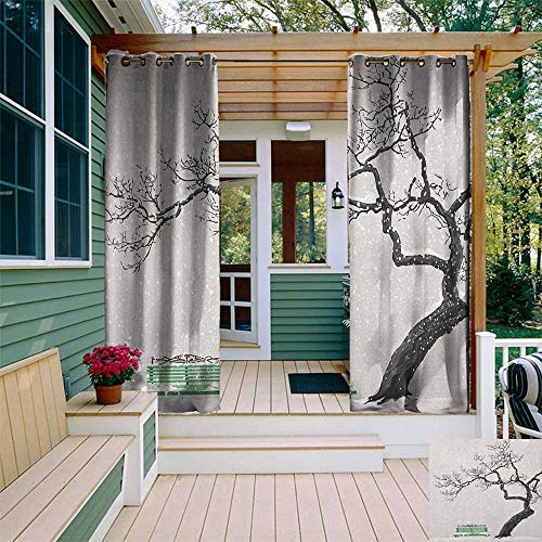 Tree, Outdoor Curtain Extra Wide, Dramatic Winter Scenery with Retro Bench and Lonely Tree in a Cold Day, Fabric by The Yard W120 x L108 Inch Charcoal Grey Sea Green