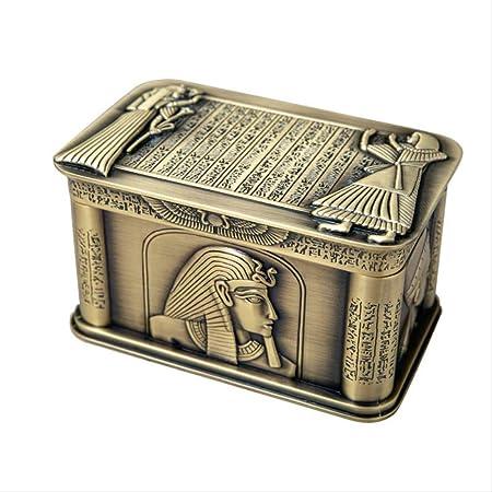 NOBRAND Estilo Europeo Metal Faraón de Egipto Rectángulo Staue Joyería Caja de Almacenamiento Decoración: Amazon.es: Hogar