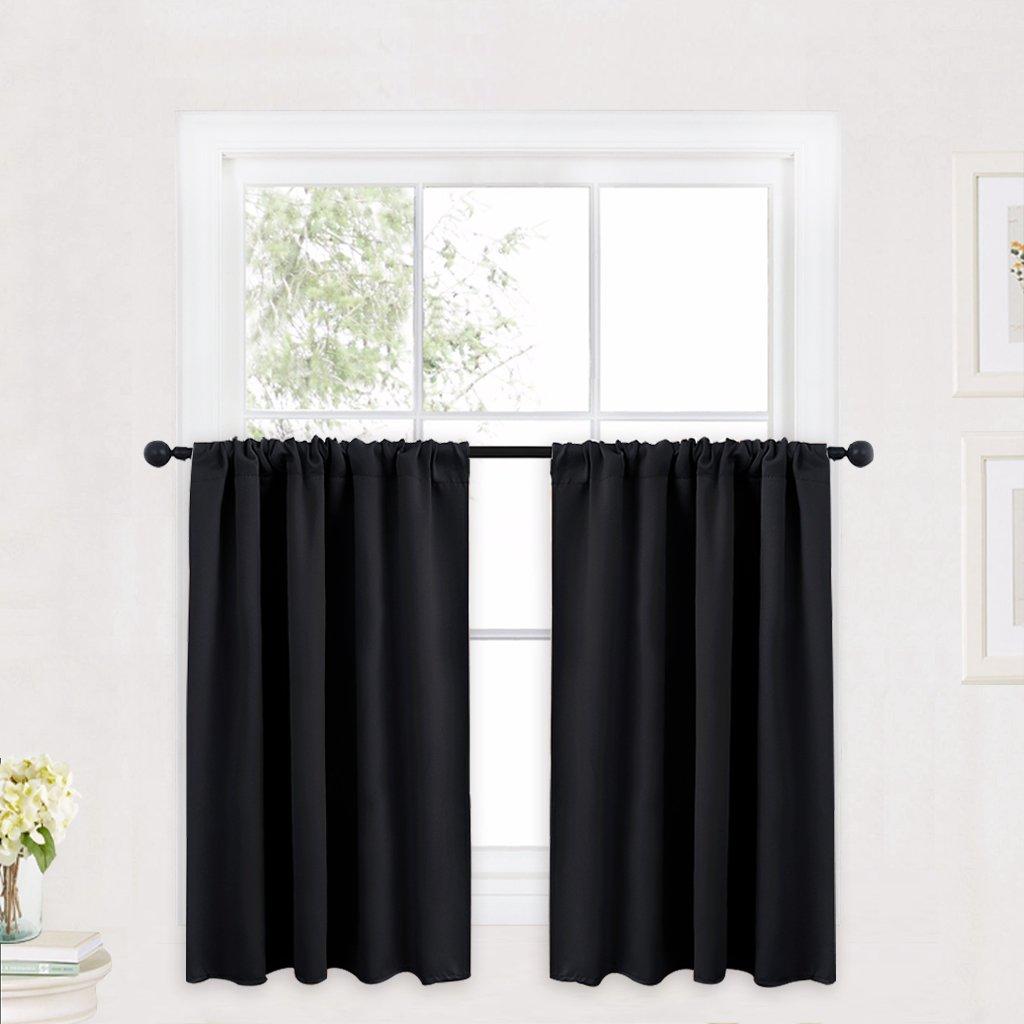 "RYB HOME Curtain Valances for Windows Black, Bathroom Curtains for 36 inche Length, Window Drapery Valances Tiers Curtains Privacy Drapes for Kids Bedroom Curtains, Width 42"" by Length 36"", One Pair"