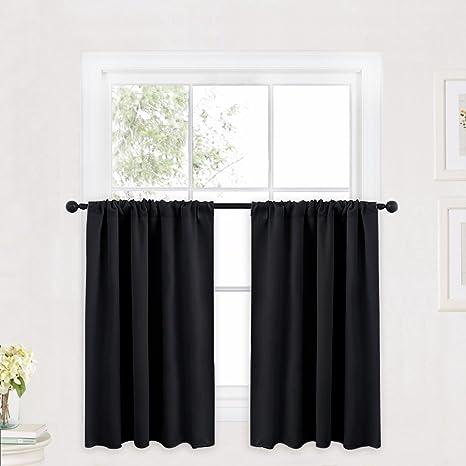 RYB HOME Curtain Valances For Windows Black Bathroom Curtains For 36 Inche Length Window Drapery Valances Tiers Curtains Privacy Drapes For Kids