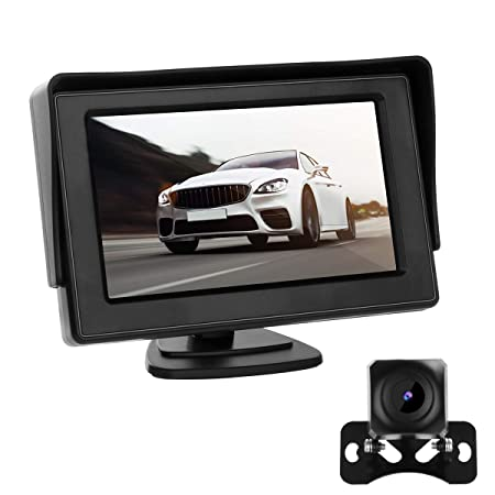 Backup Camera and Monitor Kit 4.3 LCD HD Reversing Monitor for Car Trucks Pickup Jeep Vehicle 170 Wide Viewing Angle,Starlight Night Vision,Waterproof Front View Rear View Camera System12V-24V.