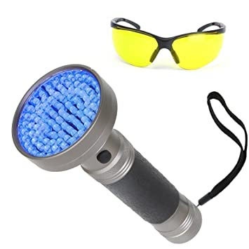 wanruisi UV linterna negro luz, 100 LED mano negra con UV gafas de sol, para encontrar mascota perro ...