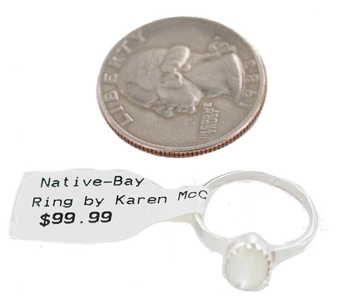 $100Tag Silver Navajo Certified Authentic MOP Native American Ring Size 5 24501-1 Made by Loma Siiva