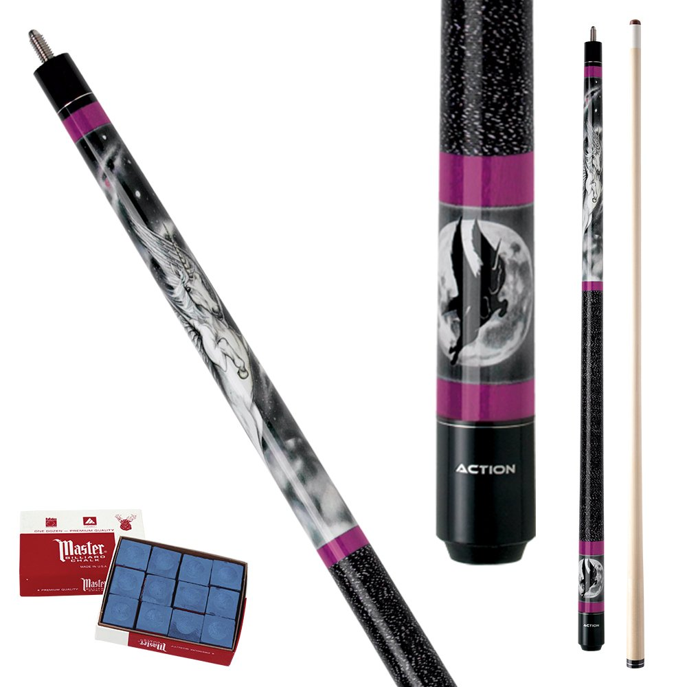 Action Adventure ADV07 Moon /& Unicorn Pool Cue Stick with 12 pieces of Master Billiard Chalk