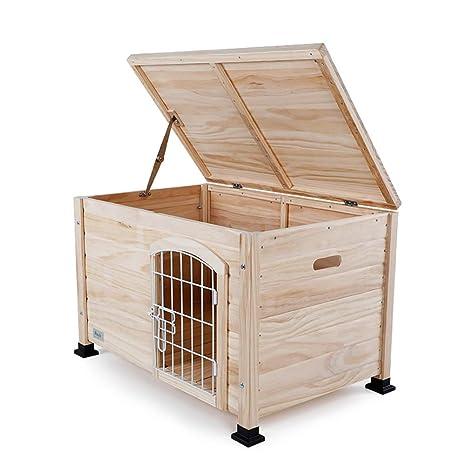 Perrera de Interior para Perros Casa de Madera para Mascotas con Puerta de Alambre Cerrada Cat