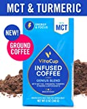 VitaCup Genius Blend Ground Coffee Bags 12oz. with MCT Oil, Turmeric, Vitamins, Cinnamon, Keto|Paleo|Whole30 Friendly, B12, B9, B6, B5, B1, D3, and Antioxidants for Coffee Brewers, Pots, French Press