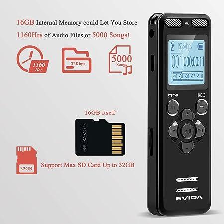 Amazon.com: EVIDA grabadora de voz digital para conferencias ...