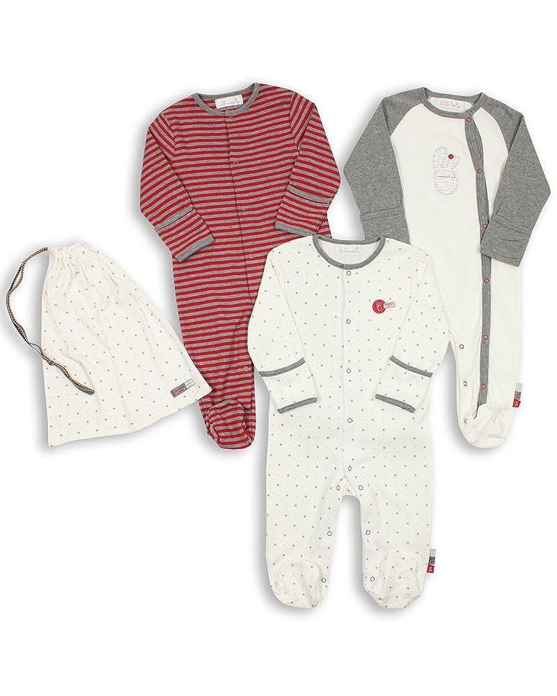 The Essential One - Baby Unisex Schlafanzuge/Schlafanzug/Einteiler/ Strampler (3-er Pack mit Beutel) ESS78