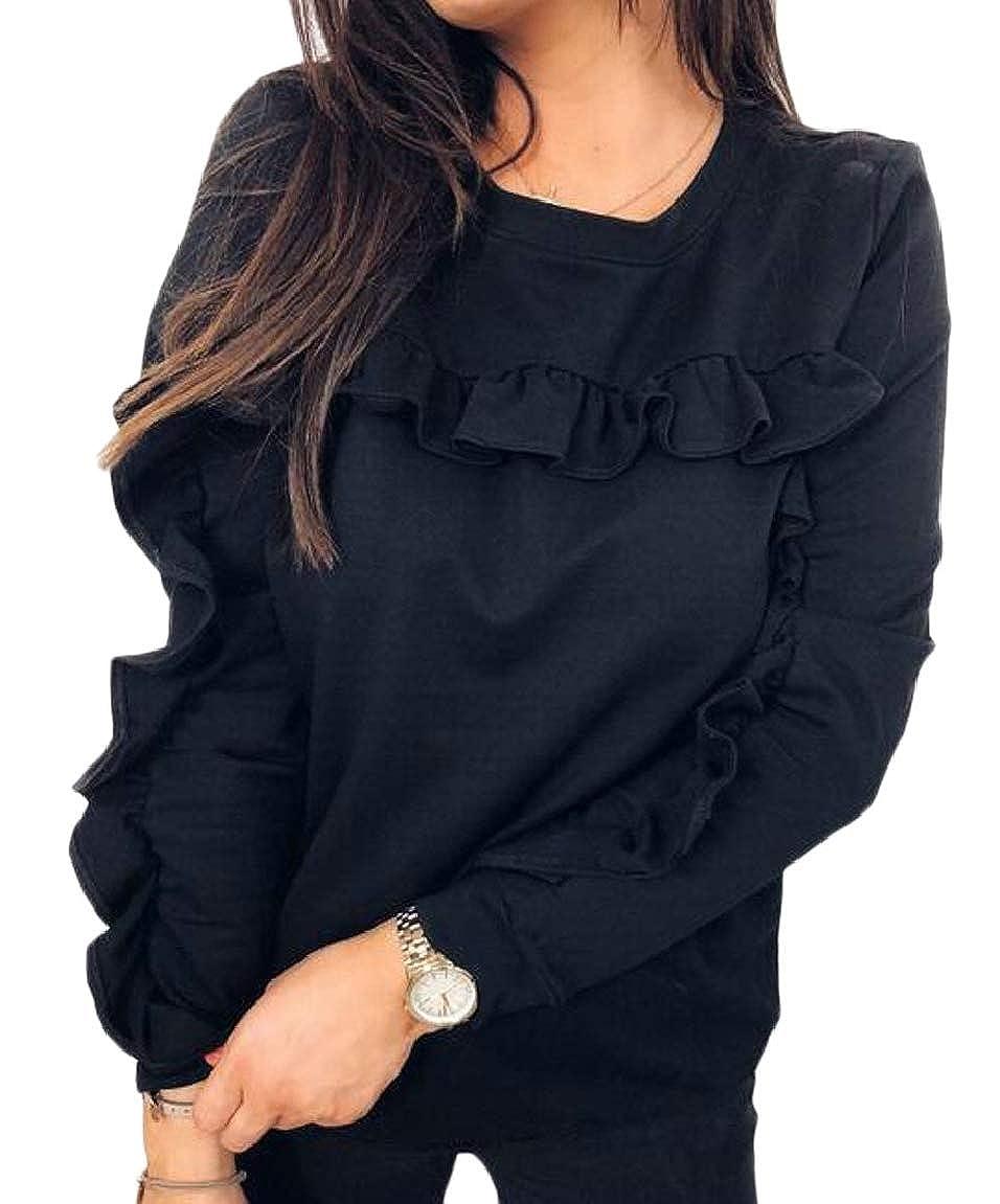 HTOOHTOOH Womens Casual Ruffle Sweatshirt Long Sleeve Round Neck Pullover Blouse
